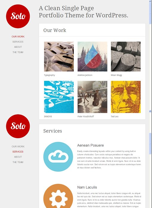 Solo WordPress One Page Portfolio theme