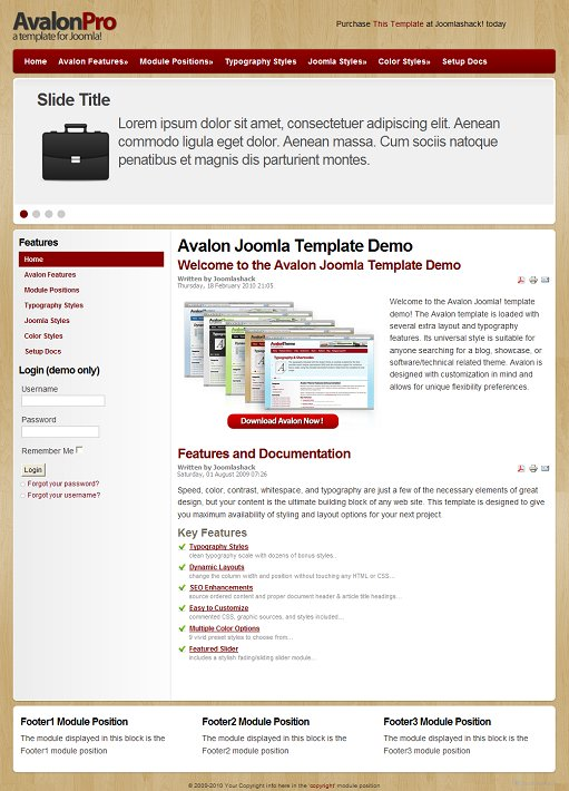 JoomlaShack Avalon Joomla Blog template