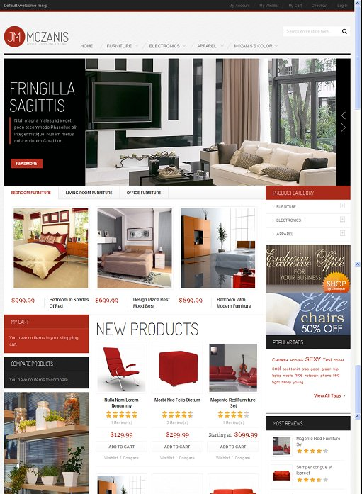 JoomlArt JM Mozanis Magento Furniture Store Theme