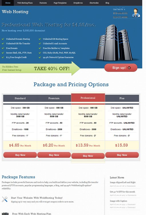 Templatic WebHosting WordPress Web Hosting Theme