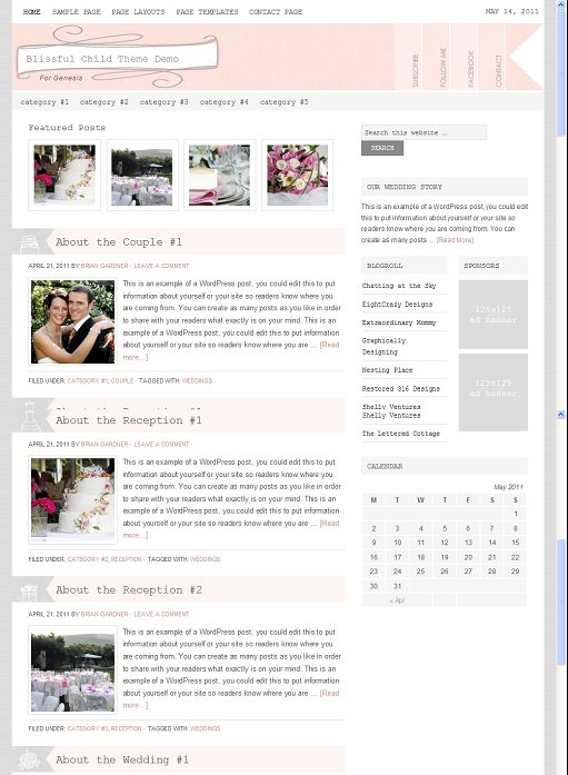 StudioPress Blissful WordPress Wedding Theme
