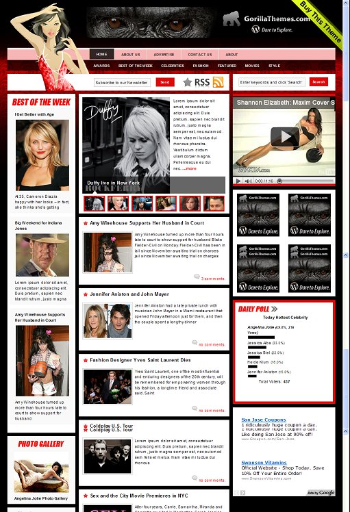 CelebrityPress Sexy WordPress Magazine Theme Gorilla Themes