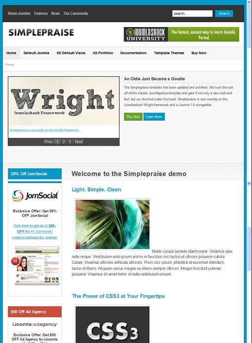 JoomlaShack JS Simplepraise Joomla Template