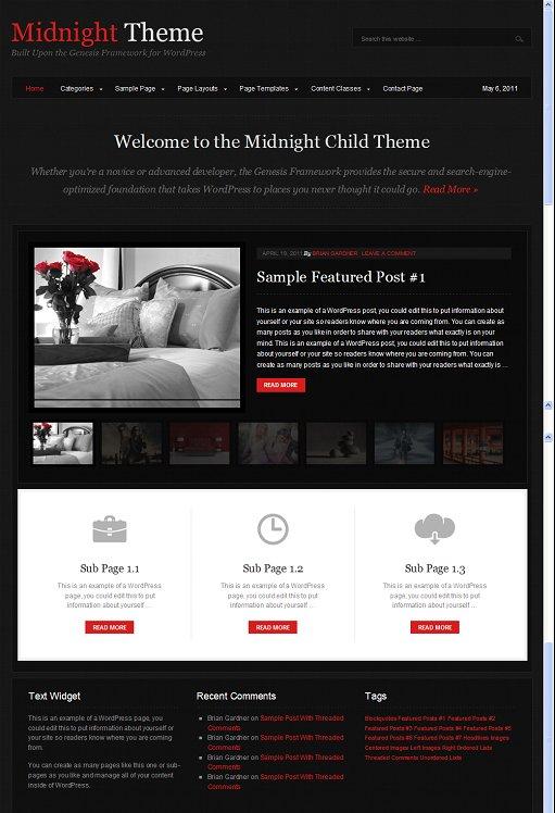 StudioPress Midnight WordPress Magazine Style Theme