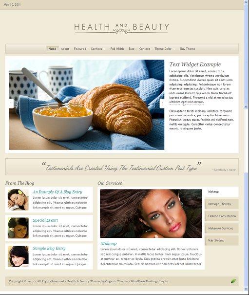 Organic Health and Beauty Theme Tan WordPress Template