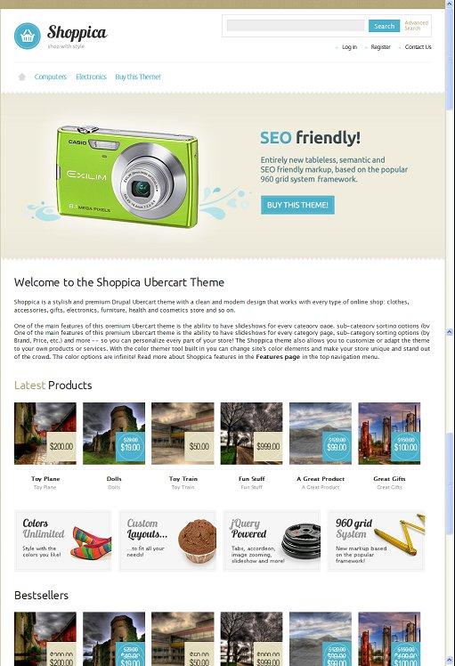 ThemeSnap Shoppica Drupal 7 Ubercart / Ecommerce Theme