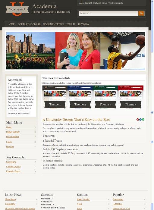 JoomlaShack Academia Joomla Educational Template
