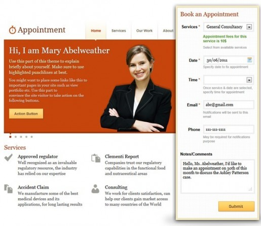 Templatic Appointment Book WordPress Theme Template