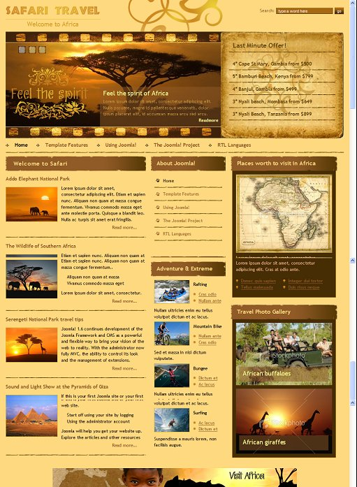 DJ-Safari Travel & Adventure Joomla Template