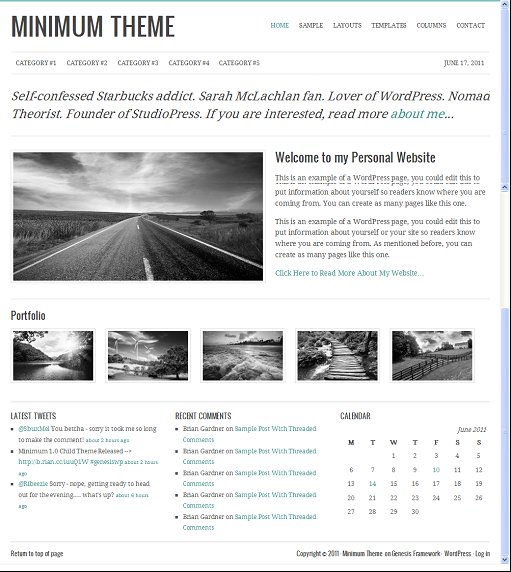 StudioPress Minimum WordPress Minimalist Theme