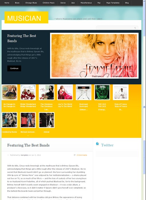 Templatic Musician WordPress Theme For Artists ECommerce sells