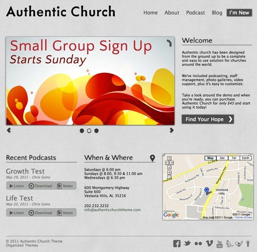 Organized Themes Authentic Church WordPress Theme
