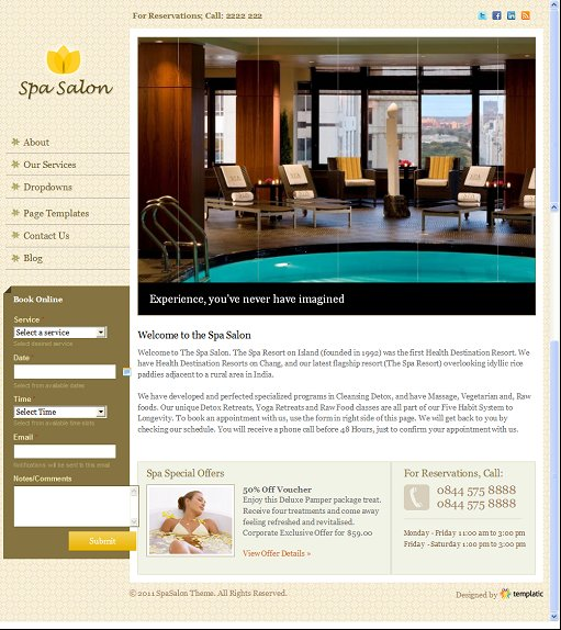 Templatic Spa Salon Beauty Spa WordPress Theme