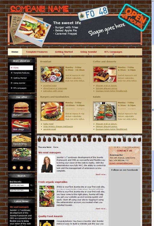 DJ-American-Bar Joomla 1.7 Premium Cafe & Restaurant Template