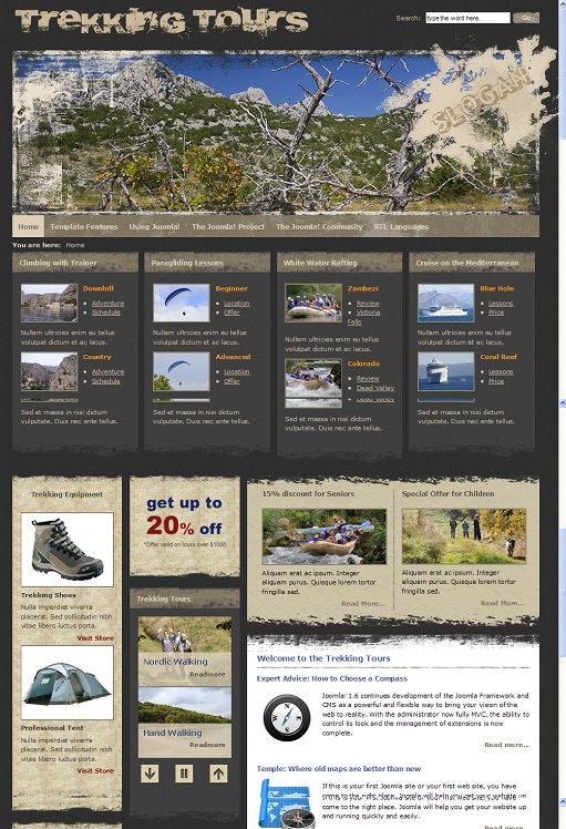 JM-Trekking Joomla 1.7 Travel & Adventure Template