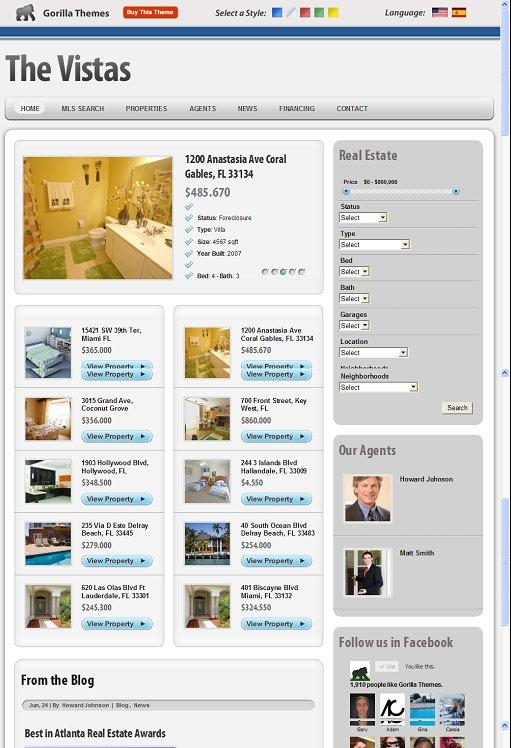 Gorilla Themes The Vistas WordPress Real Estate Theme