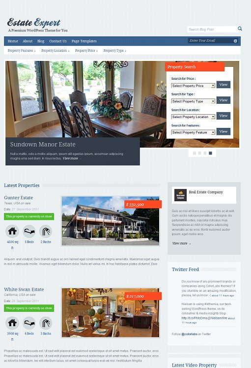Colorlabs EstateExpert WordPress Theme For Real Estate