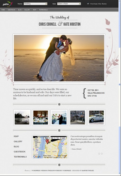 Best WordPress Wedding theme, Gabfire Wedding WordPress Theme