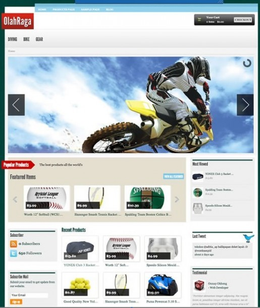 Tokokoo Olahraga WordPress Theme For Online Sport Store