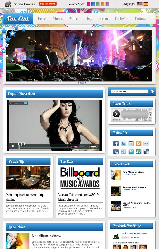 Gorilla Themes Fan Club WordPress Music Theme