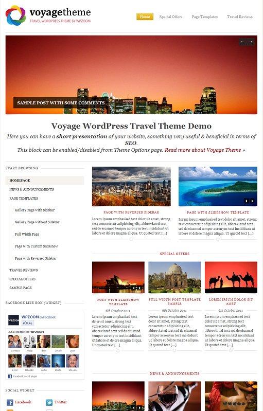 WPZoom Voyage WordPress Travel Agencies Theme