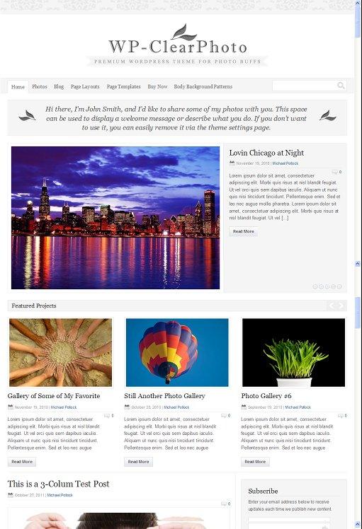 Solostream WP-ClearPhoto WordPress Theme For Photo Buffs