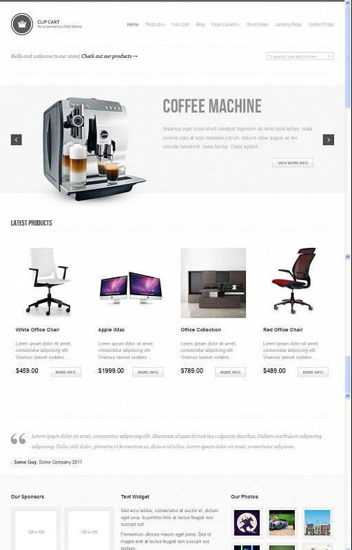 StudioPress Clip Cart WordPress e-Commerce Child Theme for Genesis