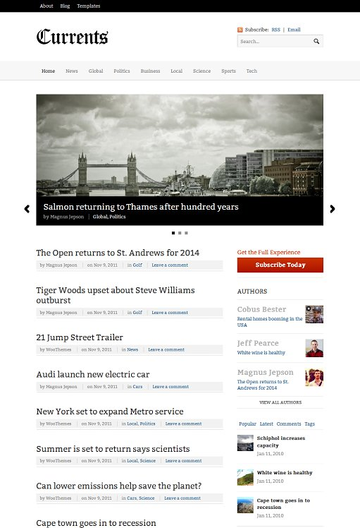 WooThemes Currents Responsive Magazine WordPress Theme