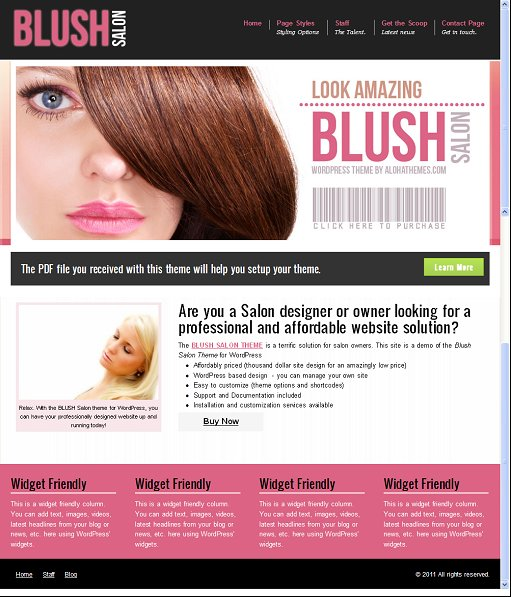 Aloha Themes BLUSH Salon Theme For WordPress