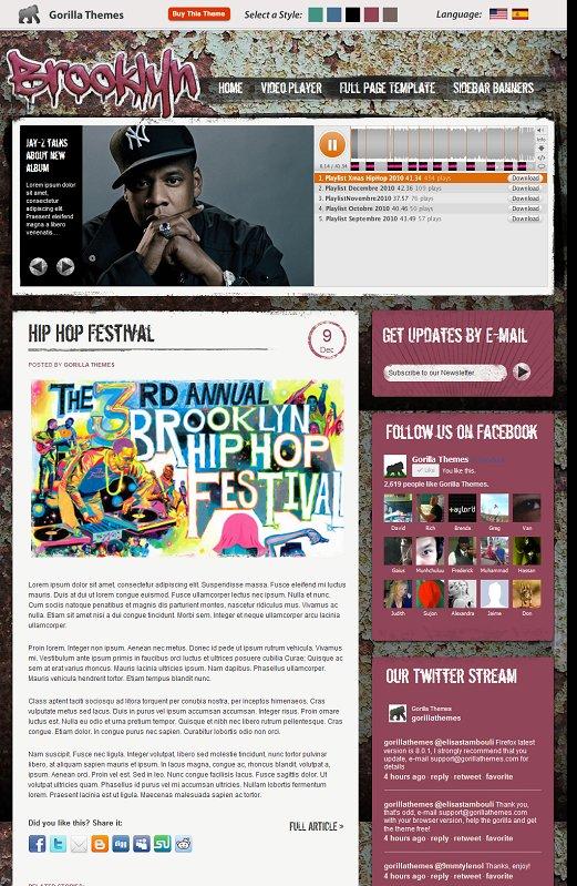Gorilla Themes Brooklyn WordPress Music Blog Theme
