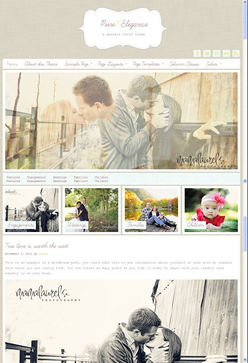 StudioPress Pure Elegance WordPress Photography Child Theme for Genesis