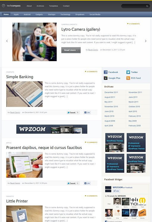 WPZOOM TechCompass WordPress Traditional Bloggging Theme