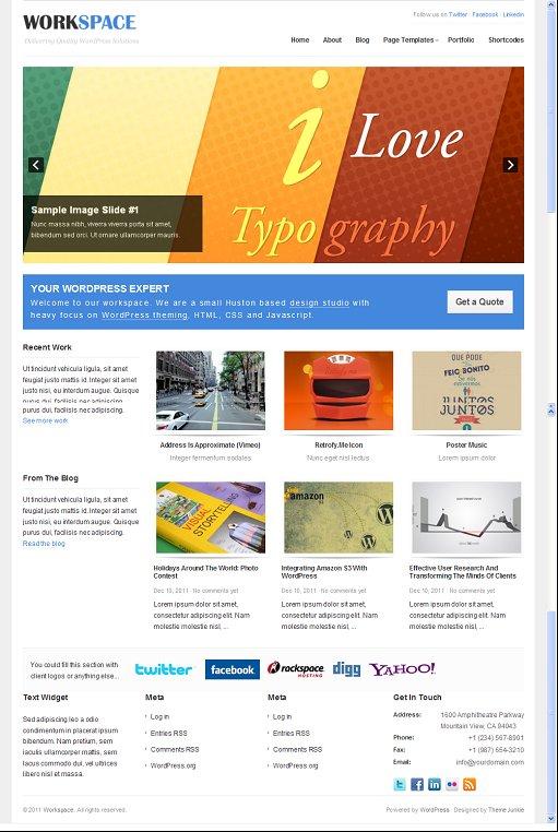 Theme Junkie Workspace Premium WordPress Portfolio Theme
