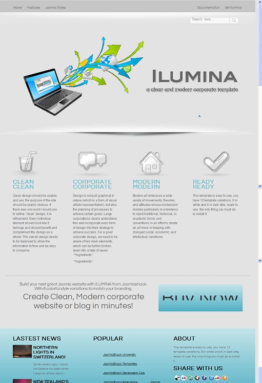 JoomlaShack Ilumina Joomla Corporate Template