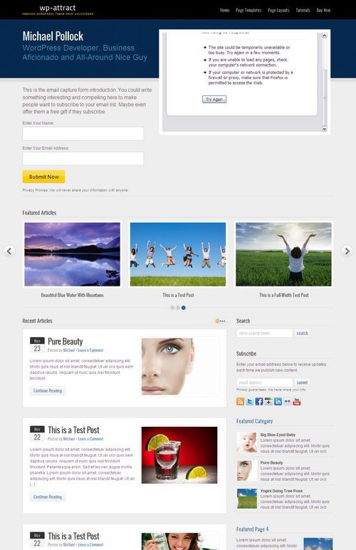 Solostream WP-Attract WordPress Theme For Online Marketing
