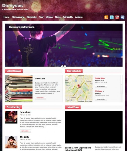 CSSIgniter Dionysus WordPress Theme For Music Artists