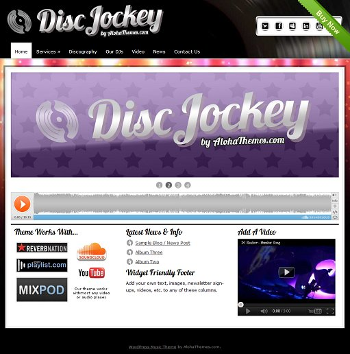 Disc Jockey Aloha Themes WordPress DJ Music Theme