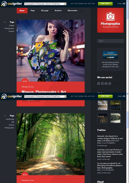 CSSIgniter Photographia Brand New WordPress Photoblog Theme