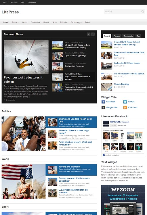 WPZOOM LitePress Responsive WordPress Theme For Web Magazine