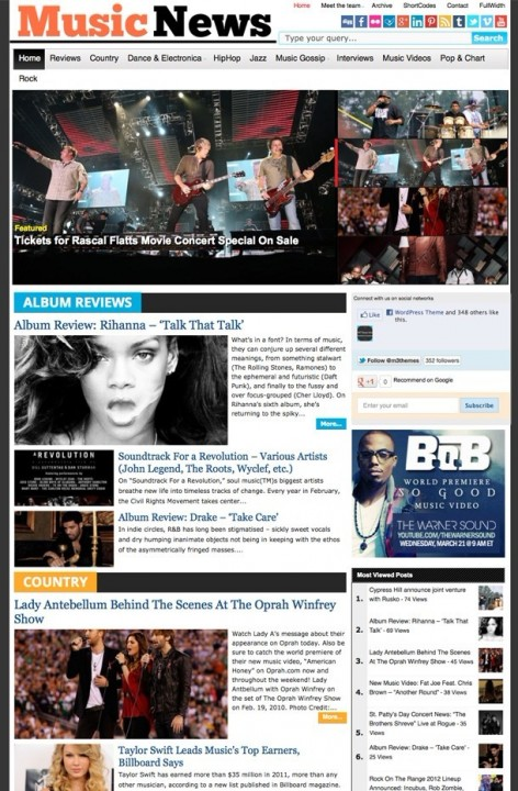 Magazine3 MusicNews WordPress Music Magazine theme
