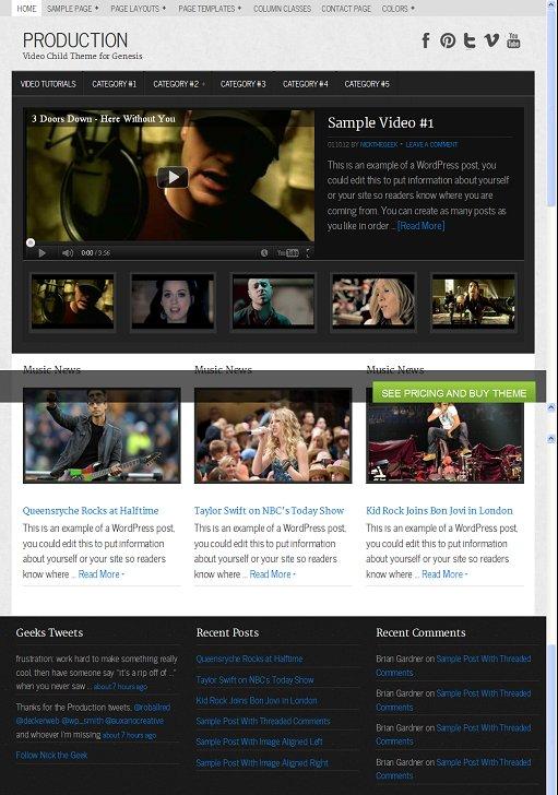 StudioPress Production WordPress Video Child Theme for Genesis