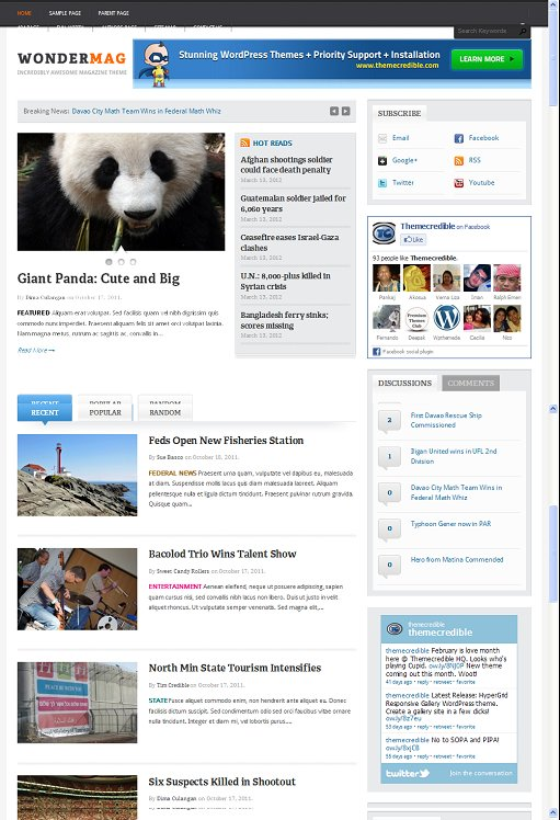 Themecredible WonderMag Awesome Magazine WordPress Theme