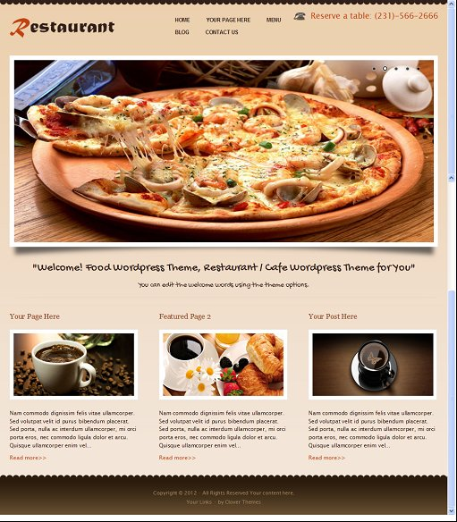 coRestaurant Clover Themes Restaurant WordPress Theme