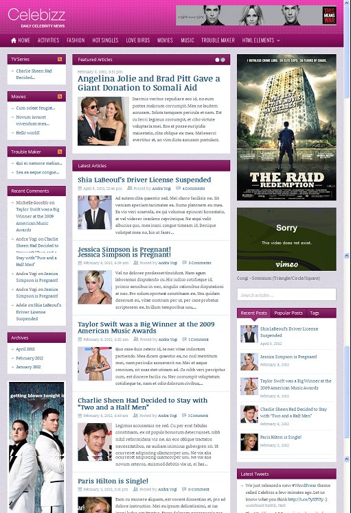 ThemeWarrior Celebizz WordPress Theme For Celebrity News