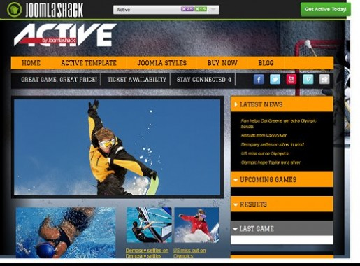 JoomlaShack Active Joomla Template For Sporty/ Active lifestyle