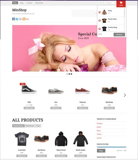 Themify Minshop Responsive WordPress Shopping Cart Theme