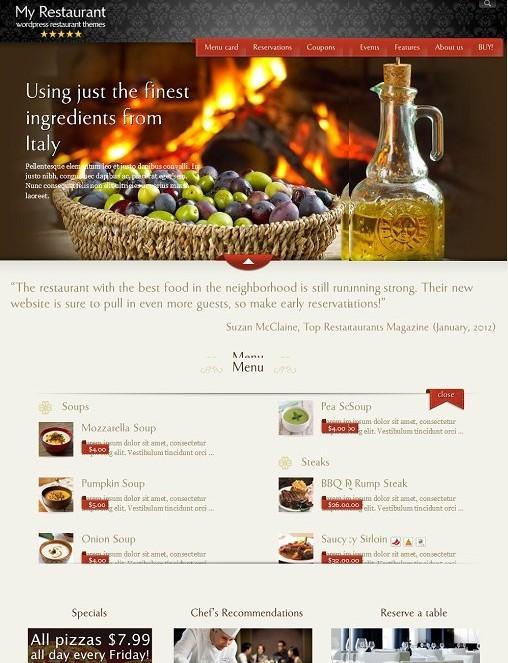 MyRestaurantTheme, Premium Restaurant Website Template For WordPress