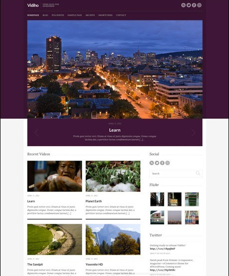 CSSIgniter Vidiho WordPress Theme For Video blogs