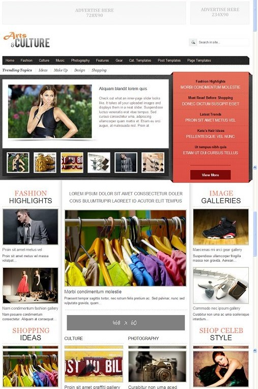 Gabfire Arts and Culture Celebrity Magazine Style WordPress Theme