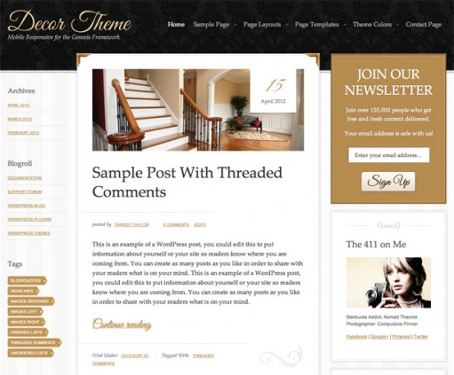 StudioPress Decor Responsive WordPress Genesis Child Theme